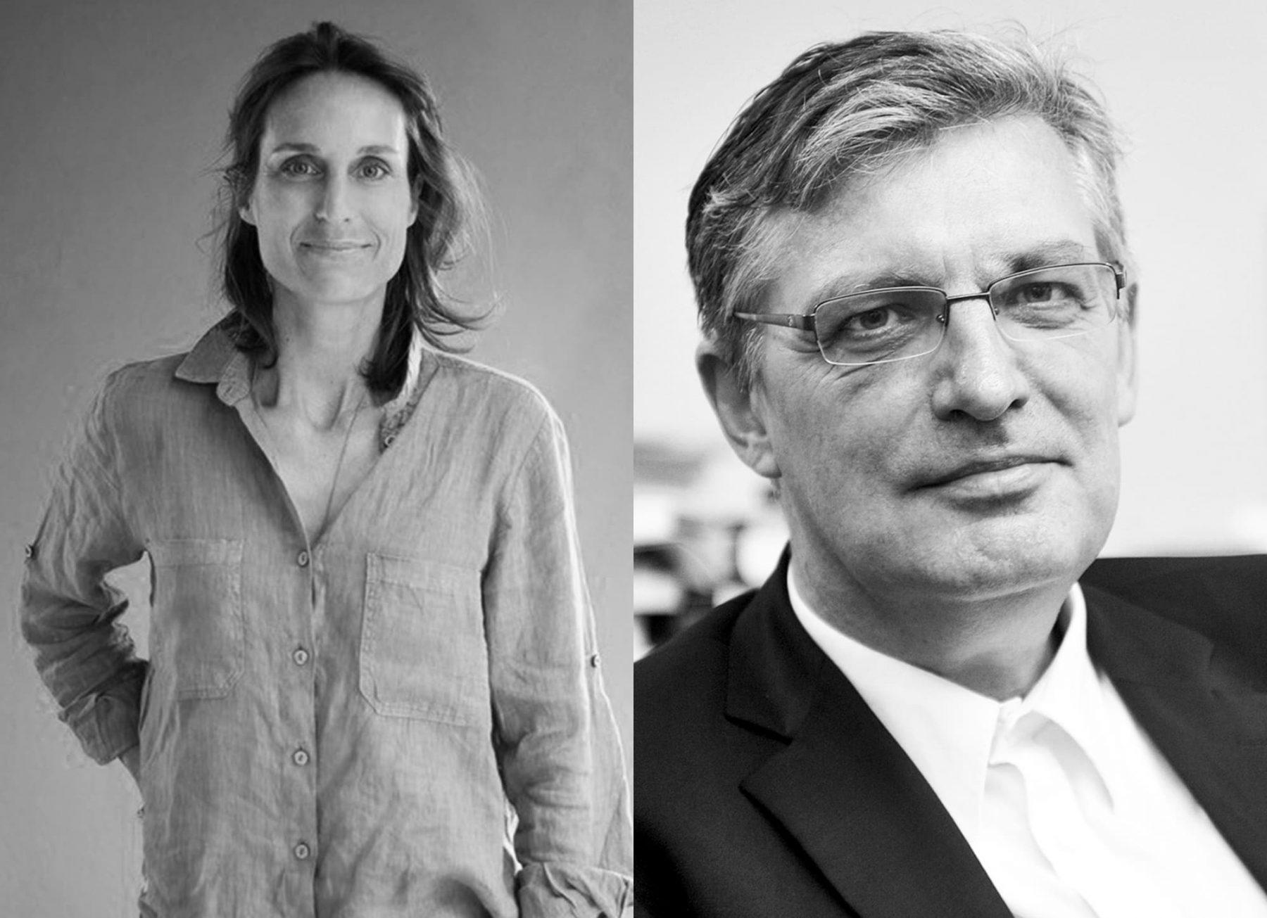 Zwei schwarzweiß Porträts, links Moderatorin Katharina Teutsch und rechts Autor Lothar Müller