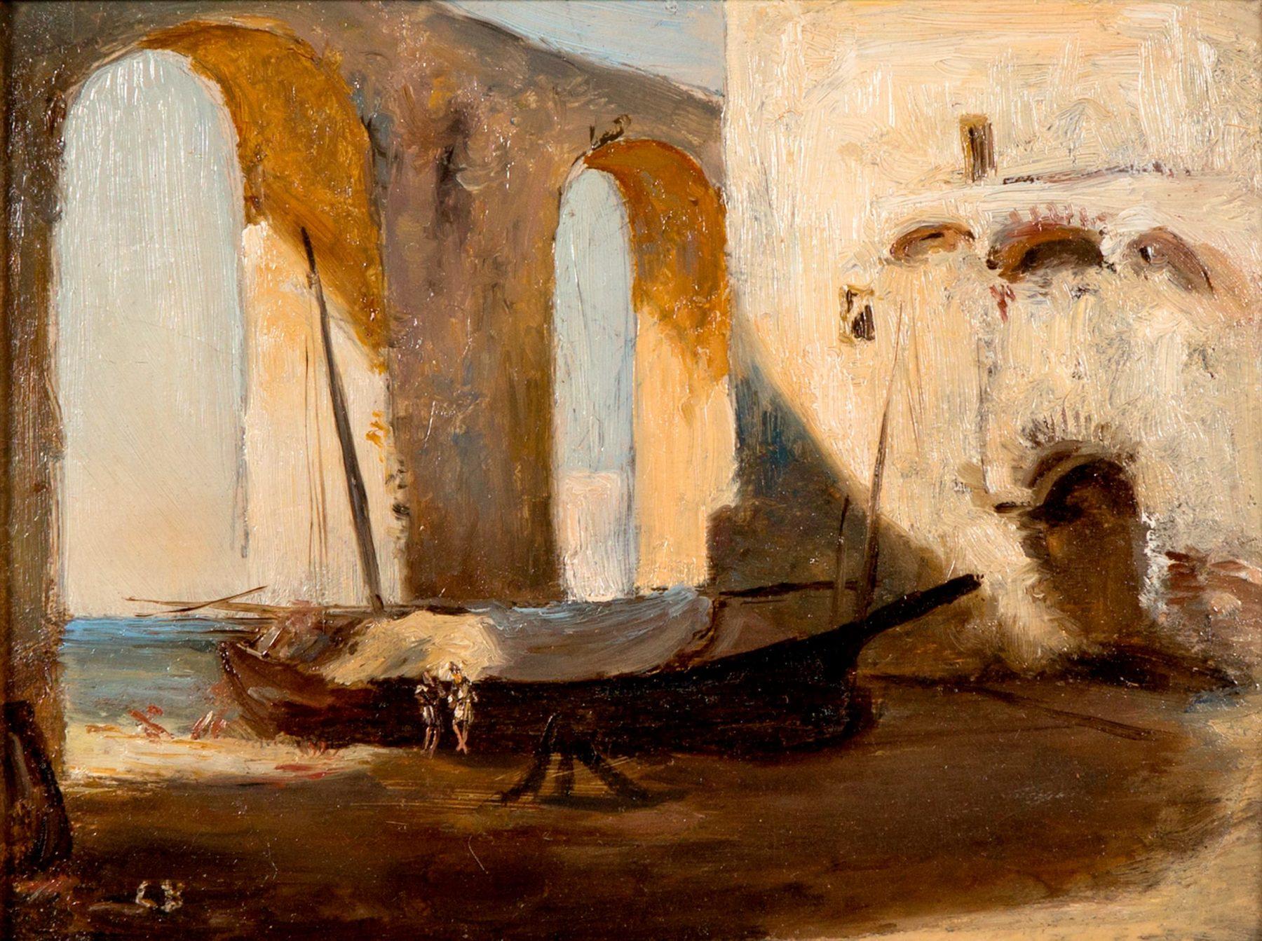 Landschaftsdarstellung mit gestrandetem Boot in hellen, beigen Farben.