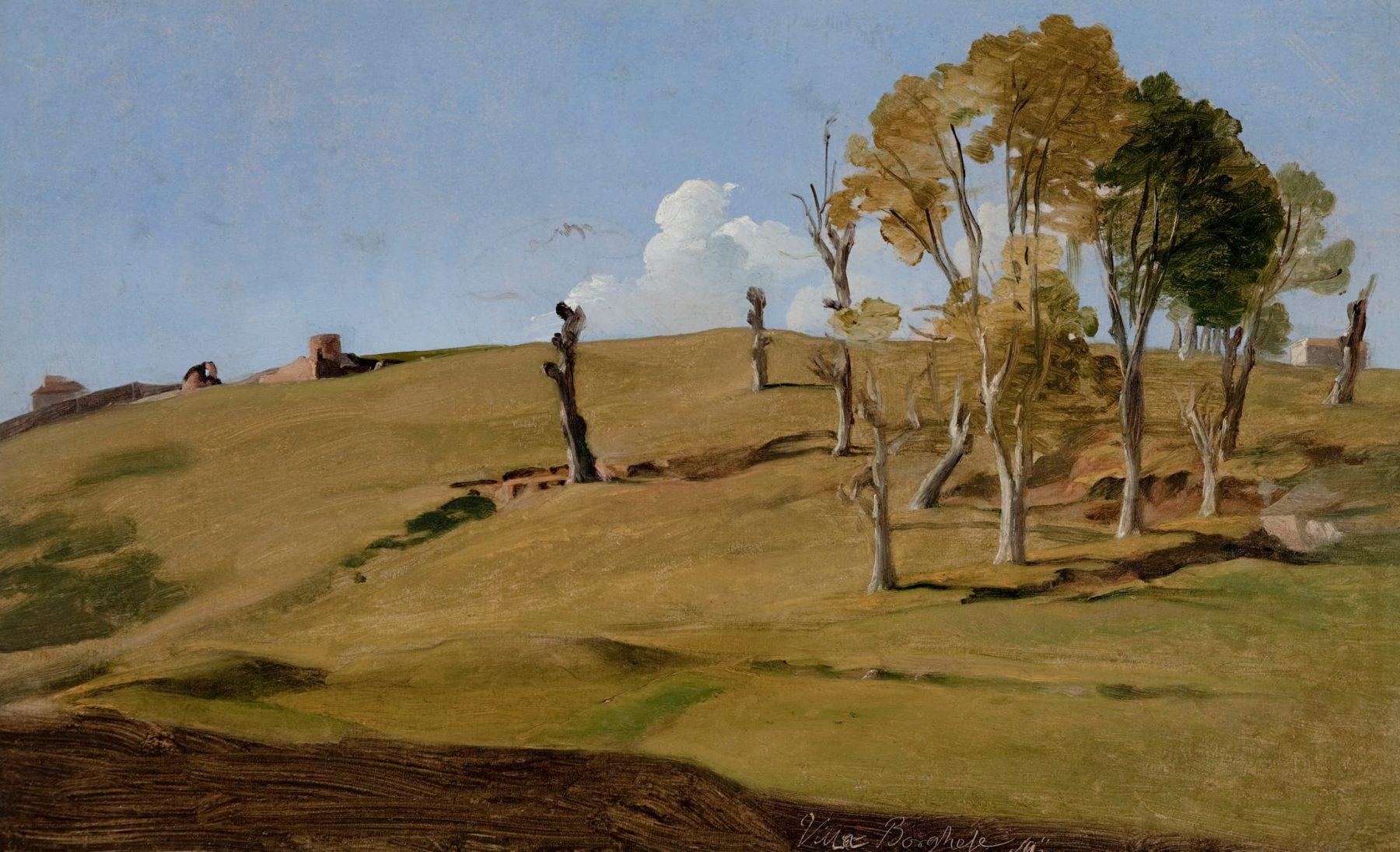 Darstellung eineer hügeligen Landschaft mit wenigen Bäumen rechts und blauem Himmel.