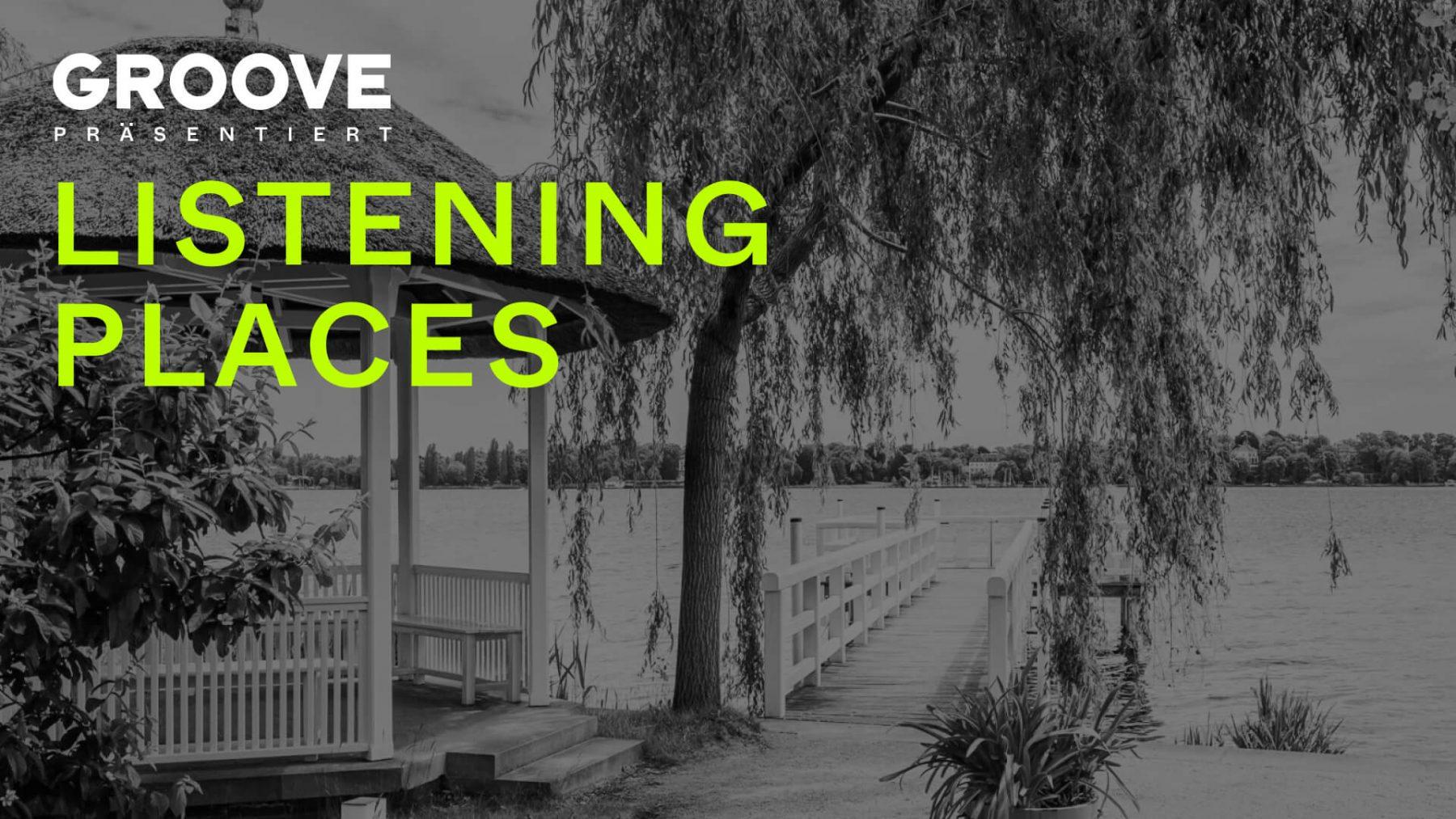 """Grafik zur Konzertreihe """"Listening Places"""" mit dem Steg der Liebermann-Villa im Hintergrund"""