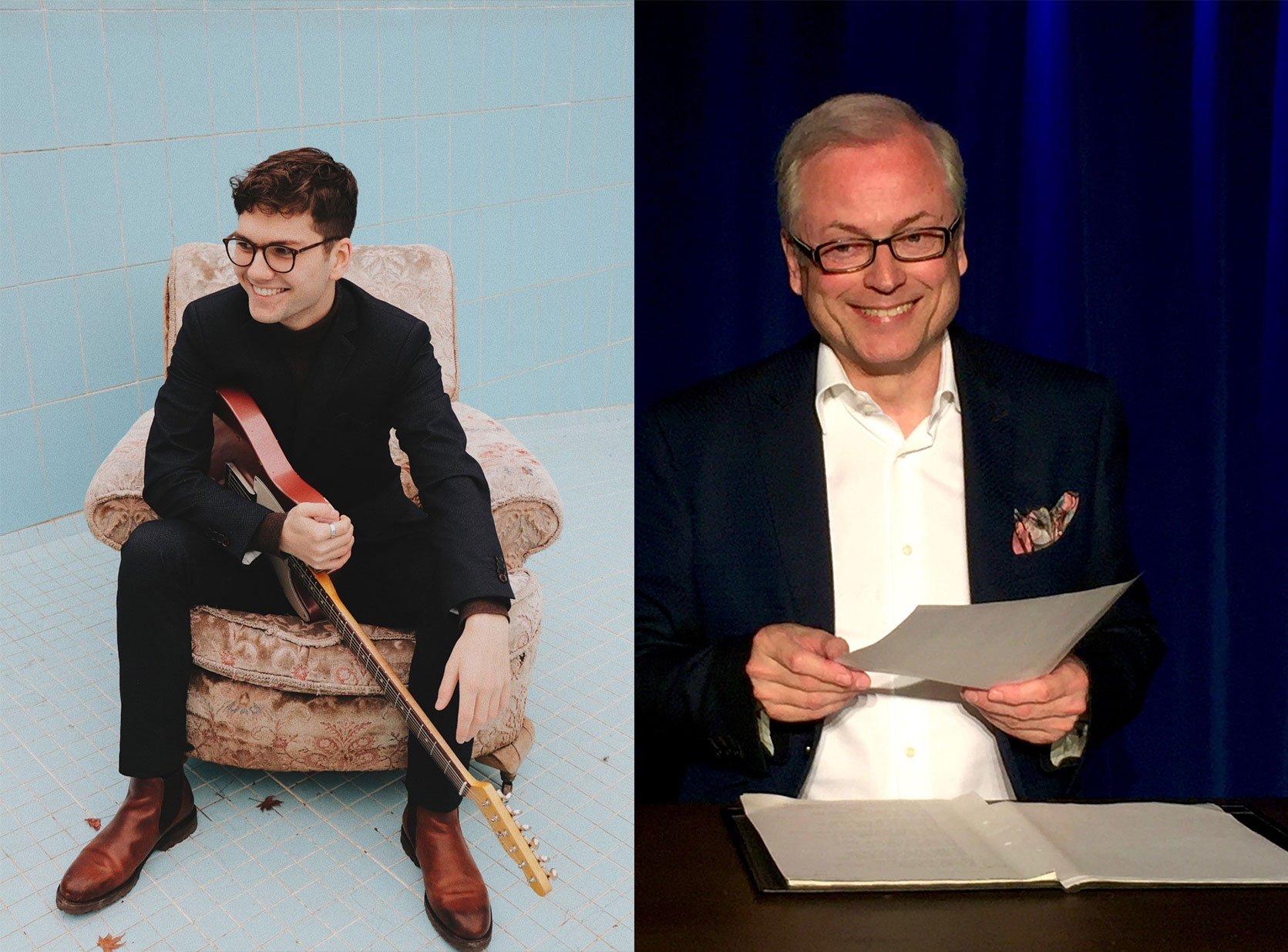 Links ein Porträt des Jazz-Gitarristen Alexander Rueß, rechts ein Porträt des Schauspielers Hans-Jürgen Schatz.