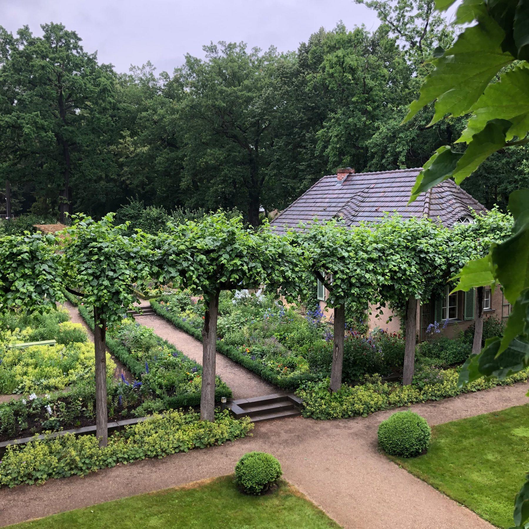 Erhöhte Perspektie auf den Nutzgarten der Liebermann-Villa mit Bäumen im Vordergrund