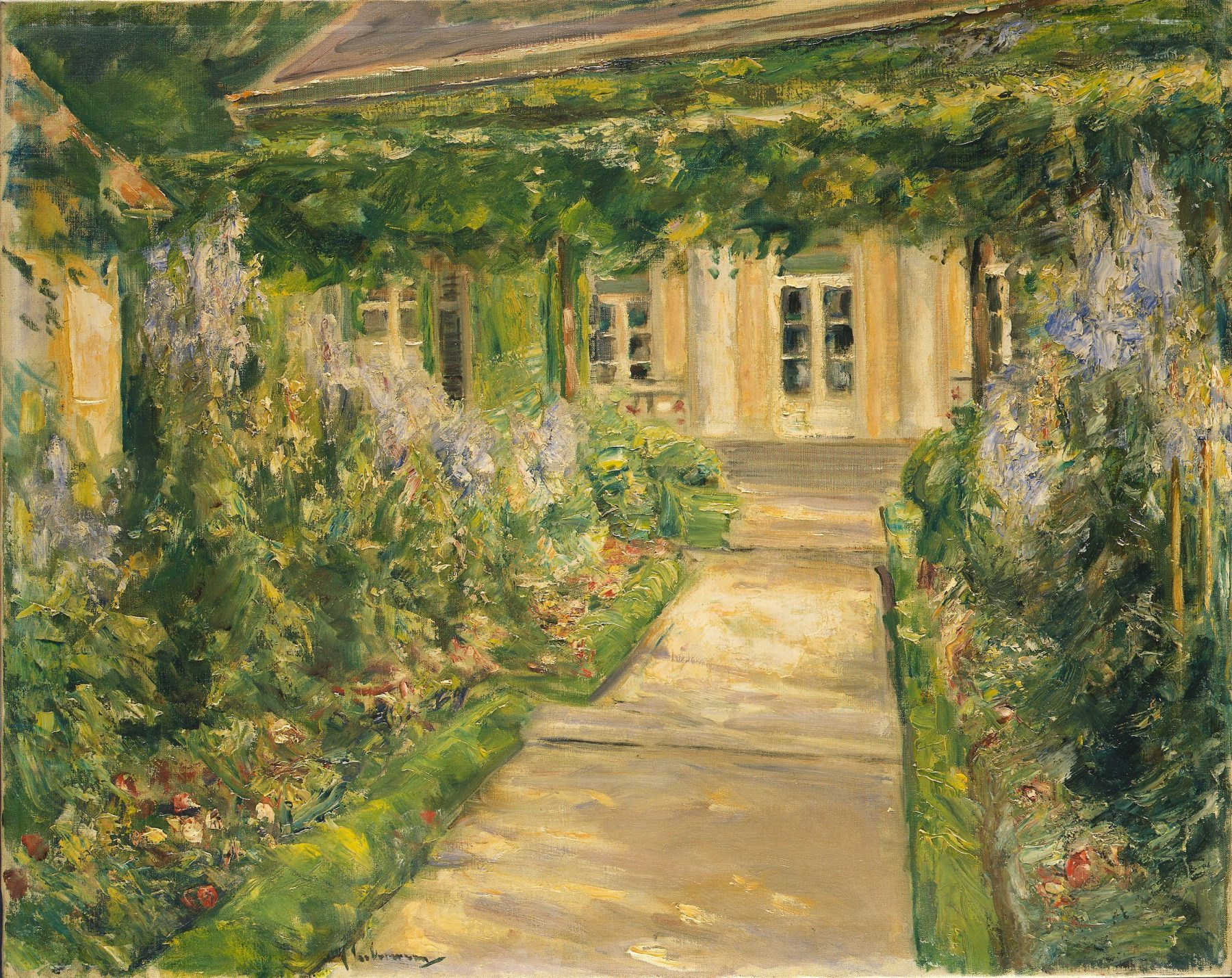 Das Gemälde zeigt den Blick auf die Frontseite der Liebermann-Villa, der Weg dorthin ist gesäumt von blühenden Beeten.
