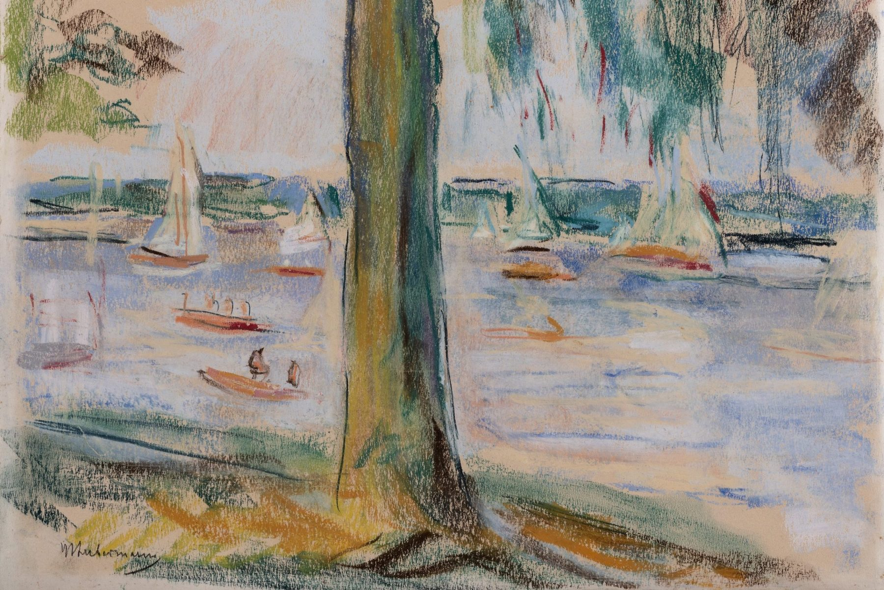 Das Pastell stellt auf abstrakte Art den Wannsee dar, auf welchem einige Boote segeln. Ein zentral stehender Baum am Ufer teilt das Bild beinahe in zwei Hälften, seine Äste ragen von oben ins Bild hinein.