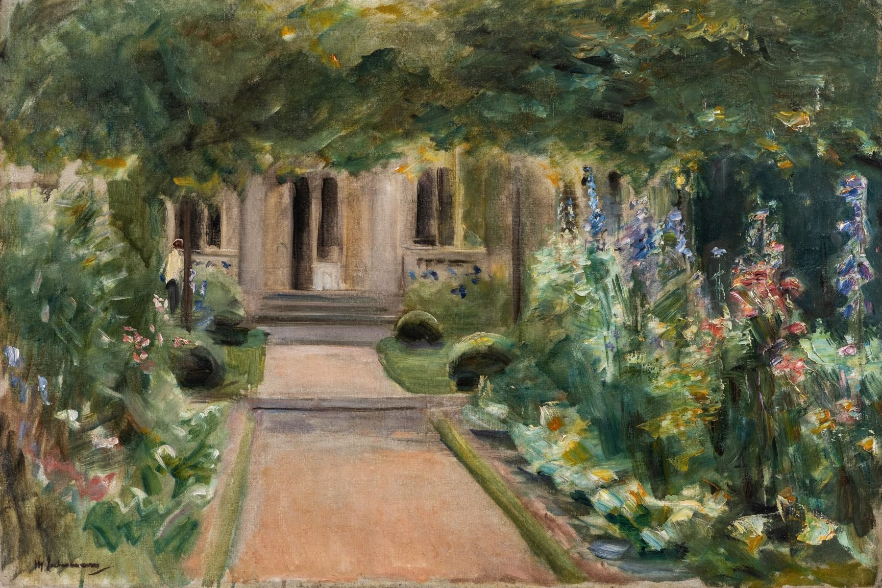 Der Blick in dem Gemälde geht aus dem Nutzgarten Richtung Osten und zeigt den Weg hin zur Liebermann-Villa, welcher gesäumt ist von blühenden Beeten.