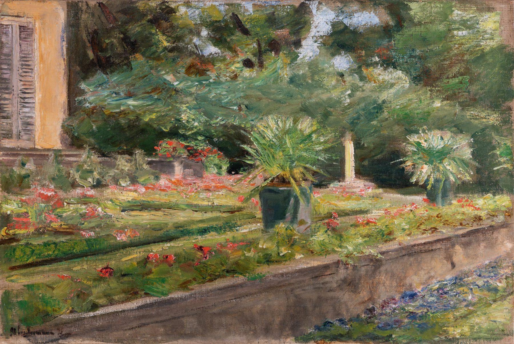 Das Gemälde zeigt einen Ausschnitt der Blumenterrasse. Es scheint Sommer zu sein, die Geranien blühen in strahlendem Rot, andere Pflanzen kommen in verschiedenen Grüntönen daher.