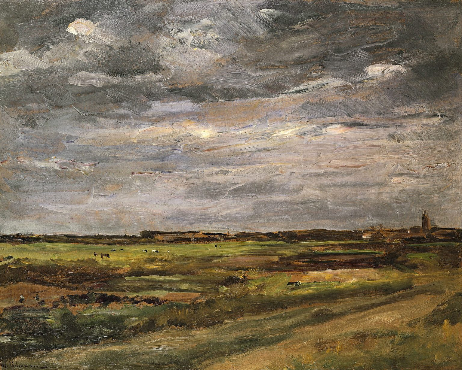Zu sehen ist eine Landschaft aus dem holländischen Dorf Noordwijk. Im Vordergrund sind Felder. Am Horizont ist das Dorf mit Kirchturm zu sehen. Im Himmelbereich sind große dunkle Wolken zu sehen.