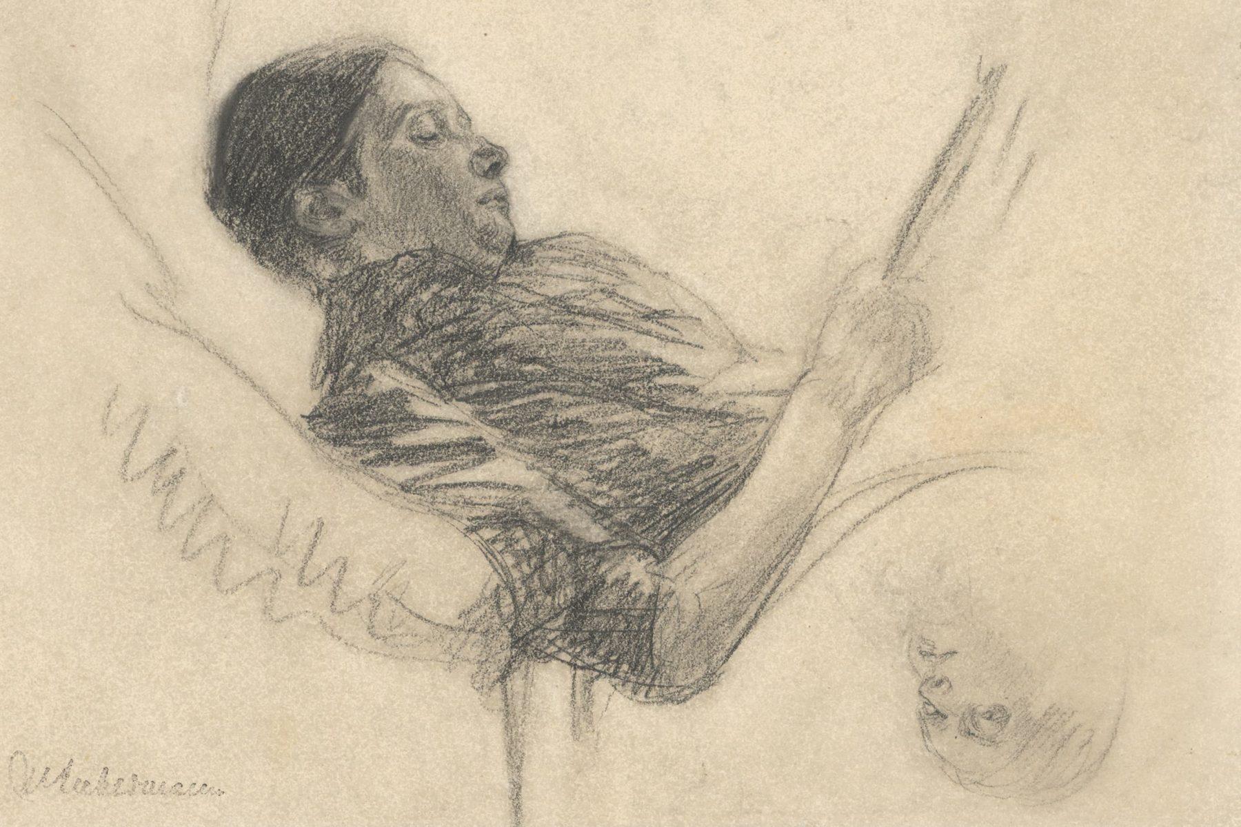 Martha Liebermann liegt lesend auf einer Art Sofa, sie scheint tief in ihre Lektüre versunken.