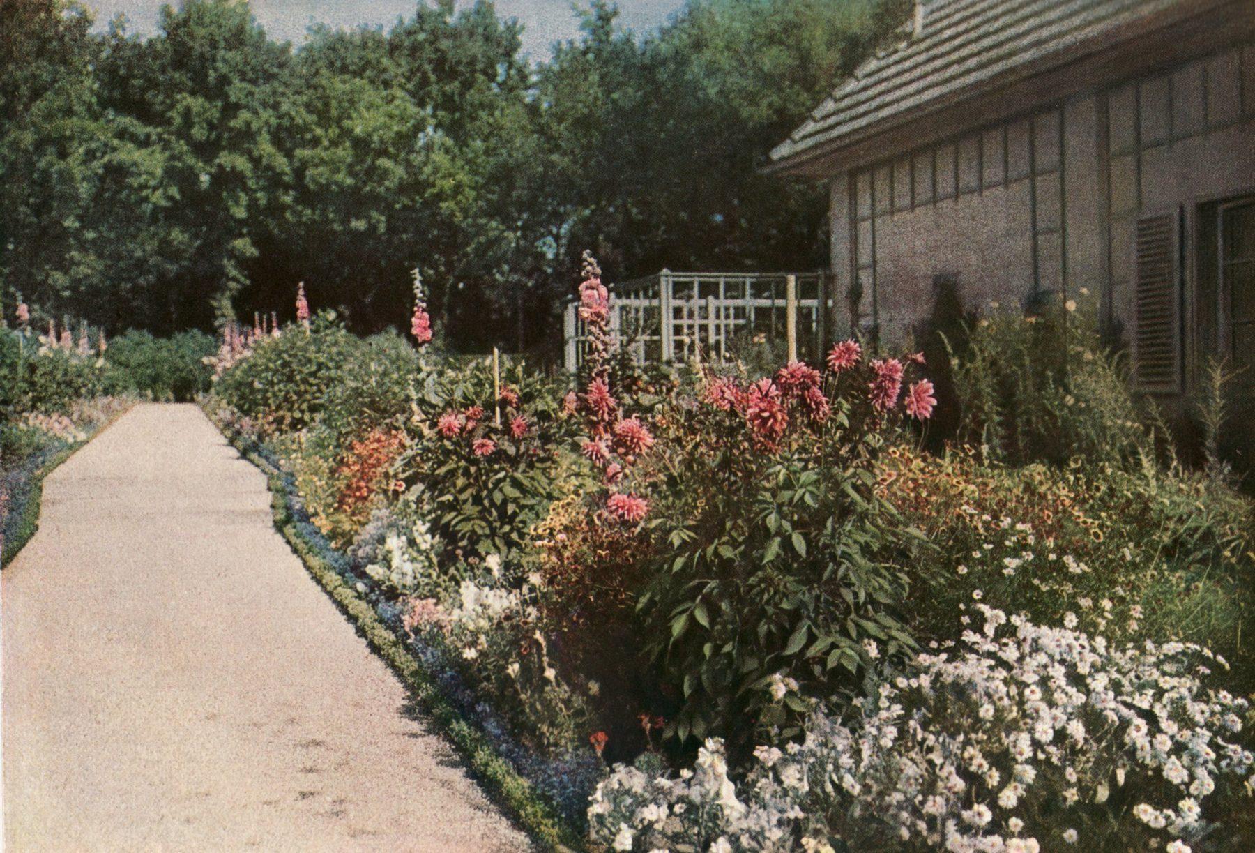 Blühene Blumen und Weg im Nutzgarten von Max Liebermann.